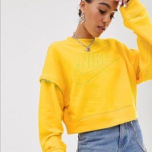 Nike Yellow Popper Crop convertible Sweatshirt XL
